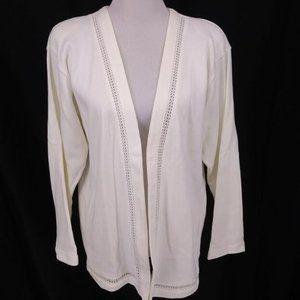 New Russ Medium Cardigan Sweater Ivory Open Front
